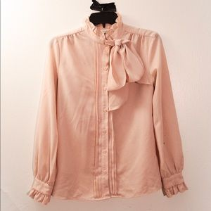 Pink Blouse with Ruffles and Ascot-Style Tie